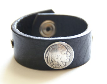 Size Sm Black Leather Upcycled Cuff