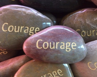 Engraved Stones / River Rocks with Inspirational Words - Gifts or Paper Weights - Courage