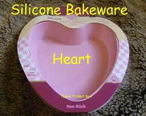 HEART SHAPED PINK Large Silicone Bakeware Non Stick Cake Tin Pan Mould Mold Baking Case Tin Jelly Wedding Engagement Love Heart Valentine