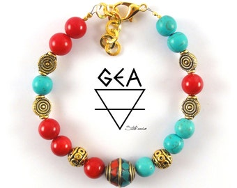 Ethnic Mayan Bracelet-Bracelet-Ethnic Jewelry-Ethnic Style-Red Coral-Turquoise-Protection