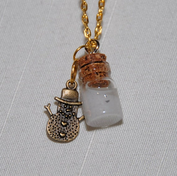 Wish Bottle Aromatherapy Necklace Pendant. Glass with Cork Top Filled with Essential Oil. Charm and Chain Included. Unisex. Great Gift