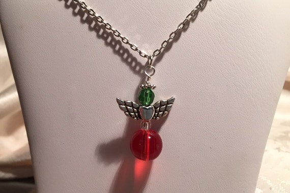 Angel Necklace Christmas Holiday Pendant. Festive and Fun, Colorful Angels. Choose or Request Colors and Style