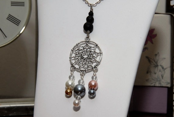 Lava Bead Diffuser Necklace. Silver Dreamcatcher with Colored Pearls and Three Black Lava Stone Beads for Essential Oils