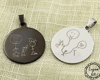 Handwritten Circle Necklace, Personalized Stainless Steel Circle Disc, Handwriting Signature, Steel in Silver or Black