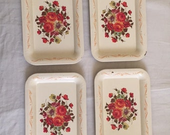 Vintage Set of Four Floral Tin Snacking Serving Trays