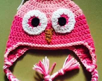 Pink Owl Hat, Crochet Toddler Hat, Crochet Photo Prop,  Owl Ear Flap Hat, Owl Hat, Pink Hat, Girls Hat,Character Hat, Toddler Hat, Gift