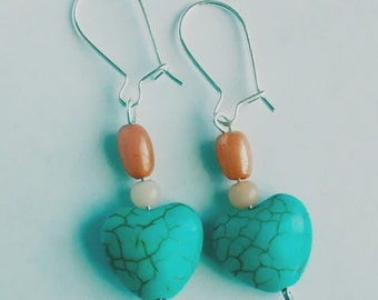Turquoise Heart Dangle Earring