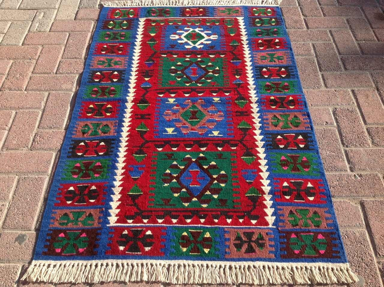 Navy blue and red vintage turkish kilim rug small area rug for Red and blue area rug