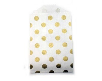 SMALL Gold polka dot favor bag.  Set of 10.  Party bag.  Gold paper treat bag.  Party favor bag.  Birthday favors.  Party favor.