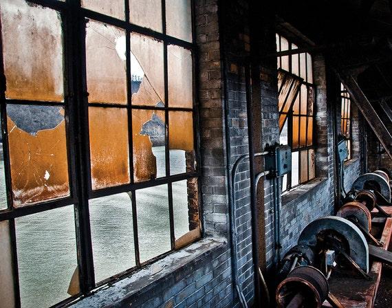 Steel Mill, River View, Wood Print, Abandoned, Urban Exploration, Rust, Wall Art, Pittsburgh, Pennsylvania, Steel Mill, Industrial