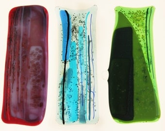 Fused glass panels triptych