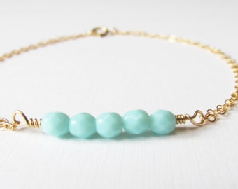 Blue Mint Beaded Gold Bracelet