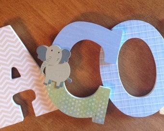 Nursery letters, Custom wall letters, Blue nursery letters, Elephant themed nursery decor