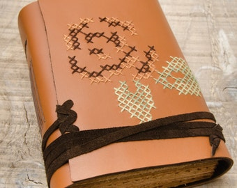 Tan Brown Leather Journal, Handbound Journal, Leather Diary, Notebook