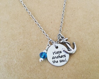 HOPE anchors the soul hand stamped necklace / anchor charm / inspirational quote jewelry / blue bead charm / anchor jewelry / friend gift