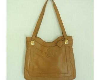 Vintage 60s Tan Leather Handbag Coin Purse Set, Purse with Mirror, Double Handle Purse, 1960s Handbag, Minimalist Purse,  Leather Bag
