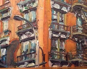 Original Oil Painting Miniature NYC Tim Folzenlogen