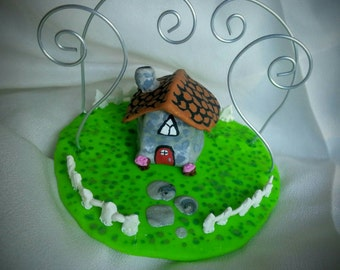 OOAK Little Cobblestone Cottage Fairy House Ring Tree // Deanna's House Jewellery Holder