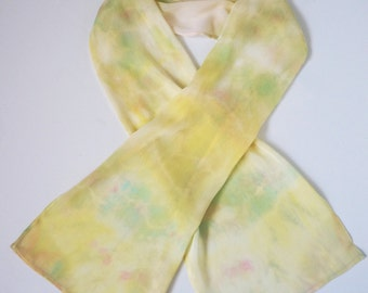Colorful handdyed Viscose Rayon with Silk Blend  Scarf