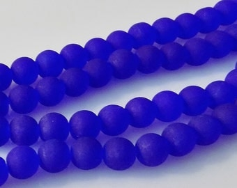"""Frosted Cobalt Blue 8mm Round Glass Beads (30"""" Strand)"""