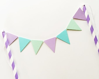 Bunting Cake Topper - Purple, Mint and Turquoise Triangles Birthday Party