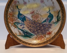 Shozan Kutani decorative plate made in Japan. Peacock plate. Porcelain plate.