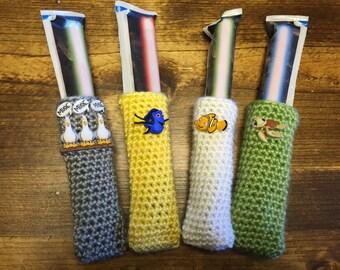 Finding Dory / Finding Nemo Freezer Pop Crochet Cozies / Popsicle Sleeves / Crochet Popsicle Holder - Set of 4!!!