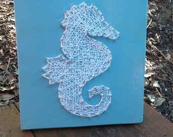 Nautical Seahorse String Art Home Decor