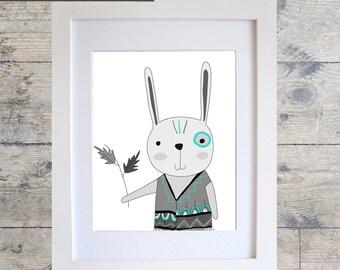 Tribal Rabbit Wall Art / Kids Room Decor/ Kids Wall Art / Nursery Wall Art / RABBIT Print Monochrome print