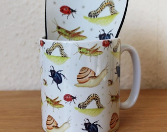 Insects Mug & Coaster Set Bug Invertebrates Ceramic Mug and Fabric Coaster featuring Snail Beetle, Ladybird, Caterpillar, Grasshopper Design