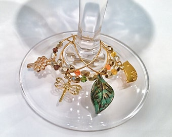 Golden Spring Wine Glass Charms - Gold Wine Glass Charms - Bird, Dragonfly, Tree and Leaf Glass Charms