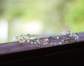 Bridal halo , golden leaves halo , bridal hairvine, bridal tiara, delicate hairvine,