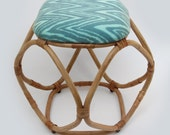 Rattan and Ikat stool. Forest Green Feather