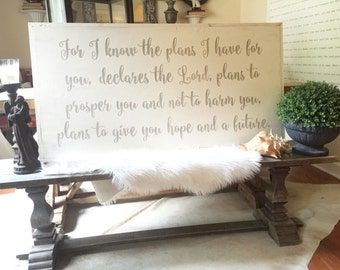 Jeremiah 29:11 2'x4' Wood Scripture Sign in Cursive