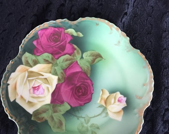 Vintage Royal Munich Hand Painted, artist signed  Plate, Bavaria, Roses