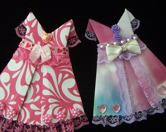 Origami Dresses Paper  Origami Dress for Cards Scrapbooking Embellishment DIY 1pc CLEARANCE SALE