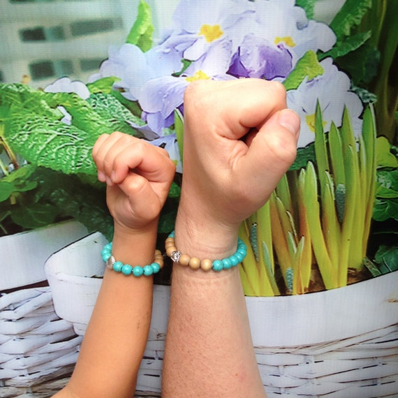Like father, like son! Natural (men) beads bracelets Turquoise & wooden beads