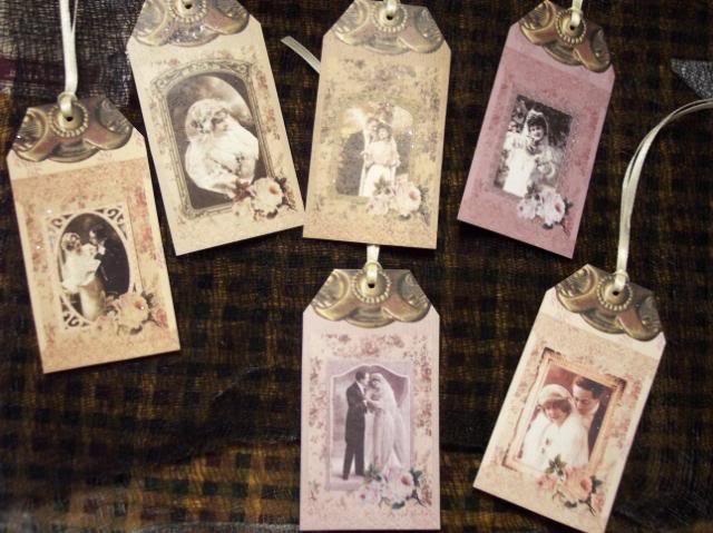 Vintage Wedding Gift Tags : SIX Vintage Bridal Wedding Love Anniversary Hang tags / Gift