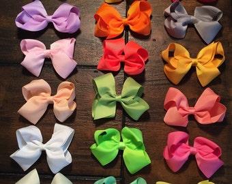 Baby bows, toddler bows, summer bows, colorful bows, four loop bow