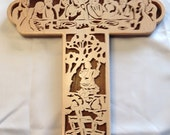 Last Supper Bible Story Cross - Maple & Walnut