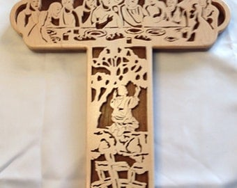 Last Supper Bible Story Cross - Maple & Walnut