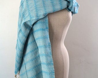 Mexican Rebozo Algodon Labrado Cyan Aqua Blue Natural White Baby Carrier Shawl Wrap Runner Frida Kahlo
