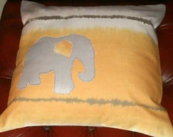 """Handmade 16"""" Elephant Pillow Cover, 16"""" Elephant Cushion Cover, Grey Orange Pillow Elephant Pillow Cover, Grey Orange Pillow Cover!"""