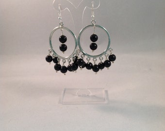 Black and Silver Hoop Chandelier Earrings