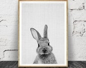 Rabbit Print, Woodlands Nursery, Rabbit Wall Art Decor, Black and White Animal Print, Printable Art, Black and White Nursery Woodlands Bunny