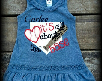 It's All About That Base Dress,Applique,Embroidery,Custom,Personalized,Team Spirit