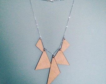 Handmade wooden triangle necklace