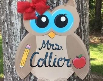 Owl Teacher Door Hanger, Owl Door Hanger, Teacher Door Sign, Owl Teacher Door Sign