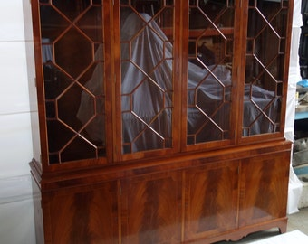 Traditional Glazed Bookcase Cupboard, Library Display Cabinet, Mid Century Bookcase Unit