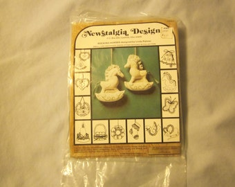 Free Shipping Complete Embroidery Kit for TWO Rocking Horses , Stamped Muslin Pre-stamped,Embroidery Floss, Lace, even the Battening